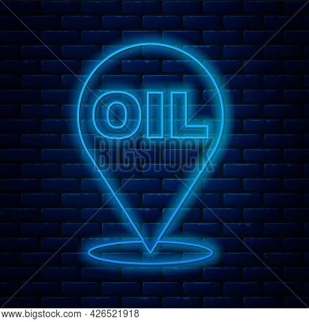 Glowing Neon Line Refill Petrol Fuel Location Icon Isolated On Brick Wall Background. Gas Station An