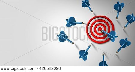 Hitting The Target As A Success Concept With Many Missed Arrows Or Darts That Missed The Mark With F