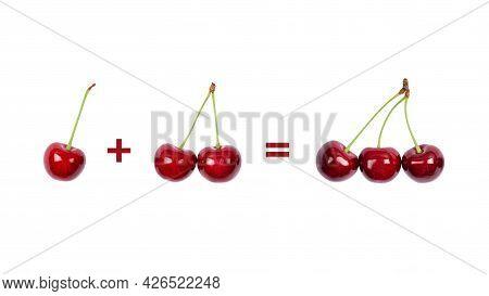 One Cherry Plus Two Cherries Equals Three Cherries. Math Banner
