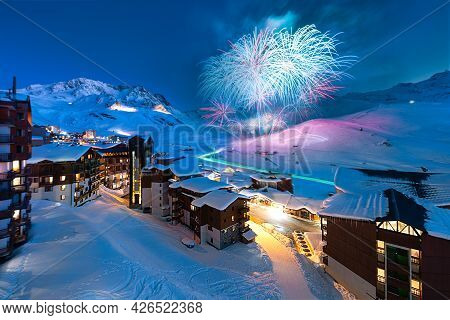 Val Thorens, Savoie, Mont Blanc, France, December 24, 2017 : Fireworks And Panorama Of Famous Val Th