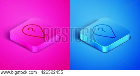 Isometric Line Unknown Route Point Icon Isolated On Pink And Blue Background. Navigation, Pointer, L