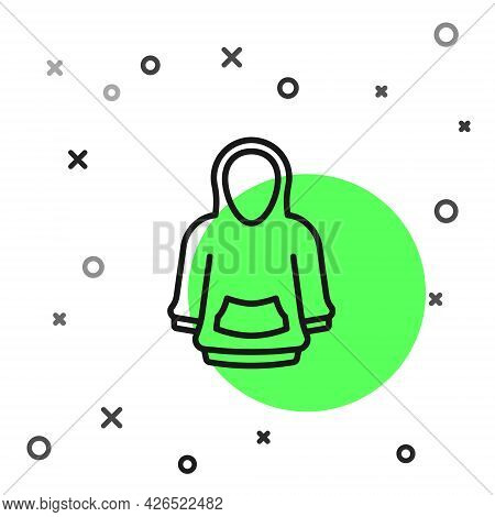 Black Line Hoodie Icon Isolated On White Background. Hooded Sweatshirt. Vector