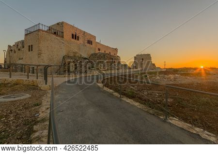 Sunset View Of The Crusader And Later Ottoman Fortress Of Migdal Tsedek, Now A National Park, Centra