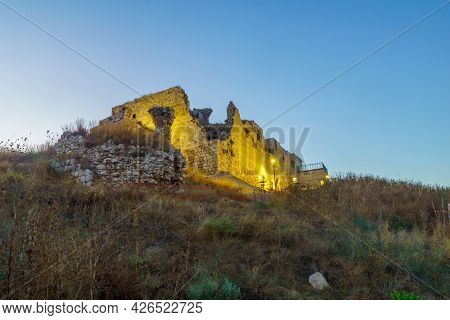 Blue Hour (after Sunset) View Of The Crusader And Later Ottoman Fortress Of Migdal Tsedek, Now A Nat