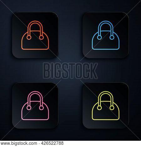 Color Neon Line Handbag Icon Isolated On Black Background. Female Handbag Sign. Glamour Casual Bagga
