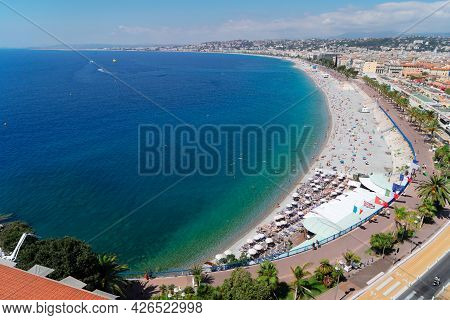 Beach And Turquiose Water Of Cote Dazur Coast At Nice, Riviera, France