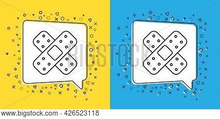 Set Line Crossed Bandage Plaster Icon Isolated On Yellow And Blue Background. Medical Plaster, Adhes