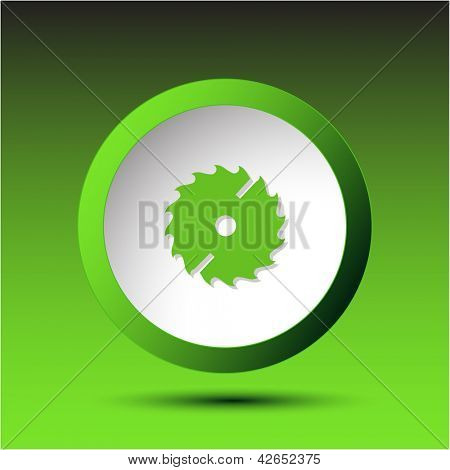 Circ saw. Plastic button. Vector illustration.