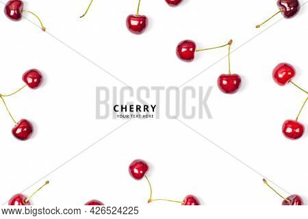 Cherries Frame On White Background. Banner With Copy Space. Ripe Red Sweet Cherry Isolated On White