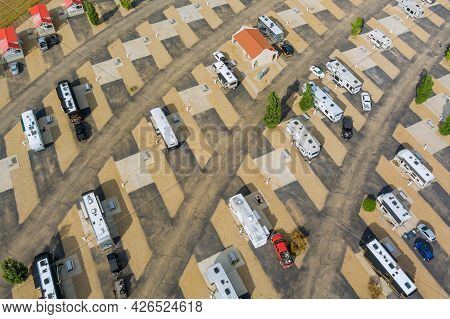 Panoramic View Rv Camping Park With The Resort With Travel In Recreation Vehicles In The Rv Park