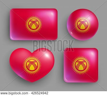 Set Of Glossy Buttons With Kyrgyzstan Country Flag. Middle Asia Country National Flag, Shiny Geometr