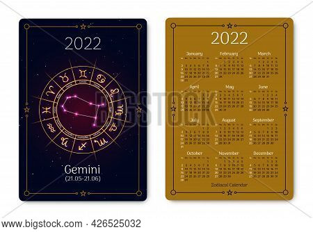 Gemini Pocket Size Calendar Layout With Zodiac Sign. 2022 Year Double Sided Vertical Calendar With G