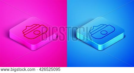 Isometric Line Gel Or Wax For Hair Styling Icon Isolated On Pink And Blue Background. Hair Cosmetic.