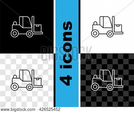 Set Line Forklift Truck Icon Isolated On Black And White, Transparent Background. Fork Loader And Ca