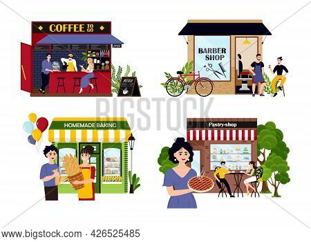 Set Of Happy Cartoon Diverse People Work At Family Business Vector Flat Illustration. Collection Of