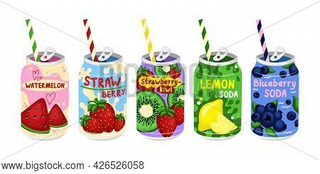 Flat Illustration Various Tasty Sodas. Carbonated Water With Different Fruit Flavors. Kawaii Asian S