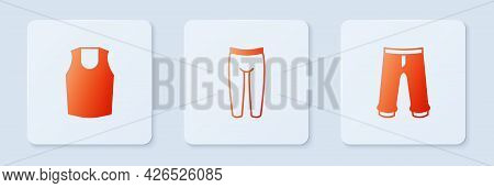 Set Leggings, Undershirt And Pants. White Square Button. Vector