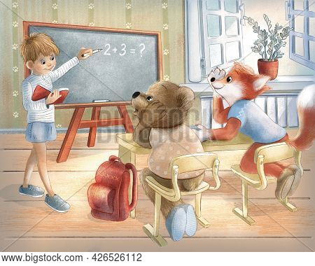Children Raster Illustration. Story. At School, A Teddy Bear And A Fox Are Sitting At A School Desk.
