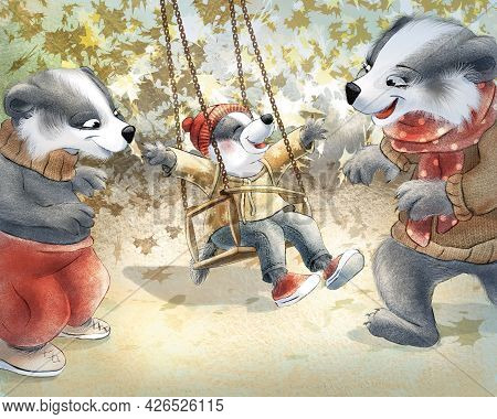 Children's Raster Illustration. Story. A Little Funny Badger Is Swinging On A Swing. The Kid Is Happ