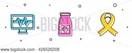 Set Monitor With Cardiogram, Medicine Bottle And Pills And Awareness Ribbon Icon. Vector