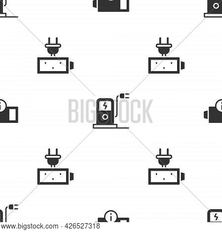 Set Low Battery, Electric Car Charging Station And Battery Charge On Seamless Pattern. Vector