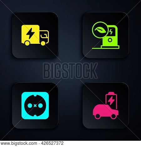 Set Electric Car, Truck, Electrical Outlet And Charging Station. Black Square Button. Vector