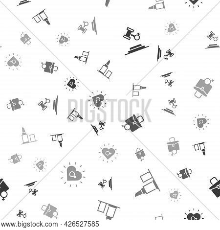 Set Female Rights, Lipstick, Work For Female And Feminism On Seamless Pattern. Vector