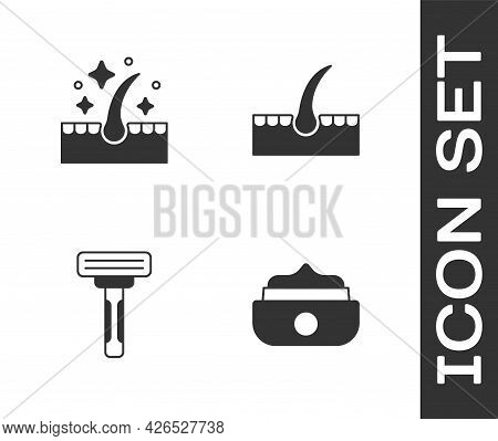 Set Gel Or Wax For Hair Styling, Oil Care Treatment, Shaving Razor And Human Follicle Icon. Vector