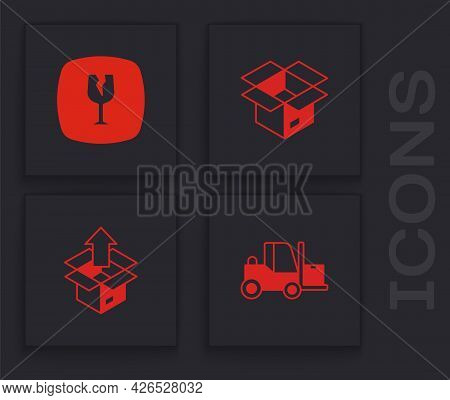 Set Forklift Truck, Fragile Broken Glass, Unboxing And Icon. Vector