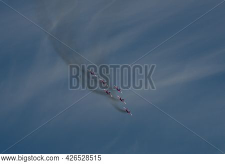 Novokuznetsk. Russia. July 10, 2021. A Festive Flight Of Six Fighters Of The Famous Aerobatic Group
