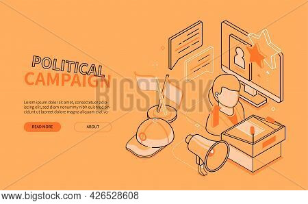 Political Campaign - Line Design Style Isometric Web Banner