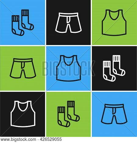 Set Line Socks, Undershirt And Short Or Pants Icon. Vector
