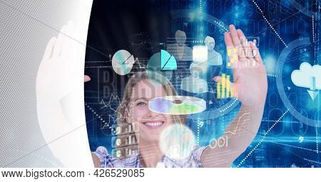 Composition of digital screen with icons and woman in background. global business, digital interface, technology and networking concept digitally generated image.