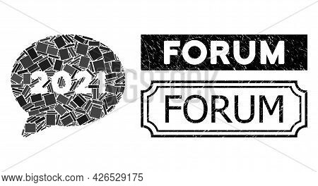 Mosaic 2021 Forum Message Constructed From Rectangle Items, And Black Grunge Forum Rectangle Seal Wi
