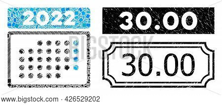 Mosaic 2022 Month Calendar Composed Of Rectangle Elements, And Black Grunge 30.00 Rectangle Stamp Wi