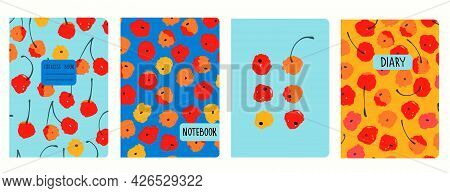 Cover Page Vector Templates With Painted Cherries . Headers Isolated And Replaceable