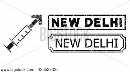 Mosaic Vector Vaccine Organized From Rectangle Items, And Black Grunge New Delhi Rectangle Badge Wit