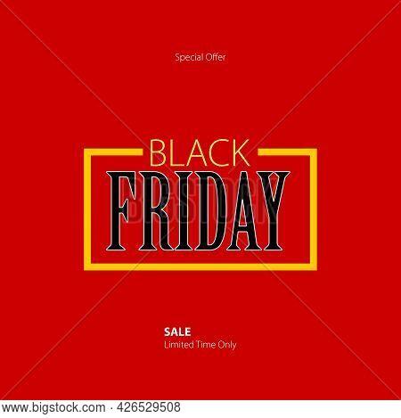 Black Friday Super Sale Social Media Post Template. Red Theme Vector Design For Super Sale In Black