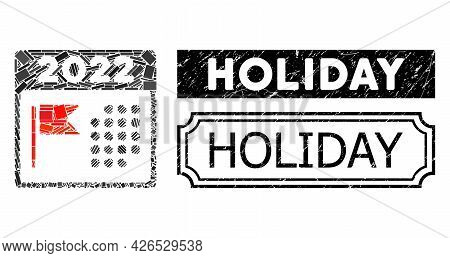 Mosaic 2022 Holiday Calendar Composed Of Rectangle Items, And Black Grunge Holiday Rectangle Seal Wi