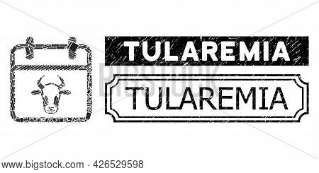 Mosaic Bull Calendar Page Composed Of Rectangular Items, And Black Grunge Tularemia Rectangle Stamp