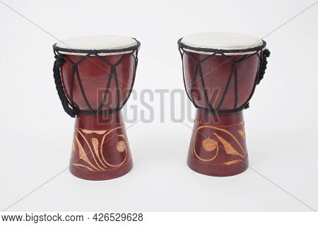 A Pair Of Handmade Wooden African Hand Drums