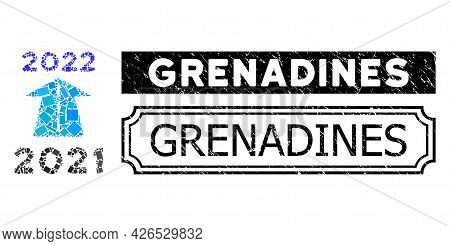 Mosaic 2022 Future Road Organized From Rectangle Items, And Black Grunge Grenadines Rectangle Badge
