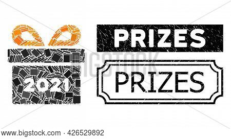 Mosaic 2021 Gift Constructed From Rectangle Elements, And Black Grunge Prizes Rectangle Badge With N