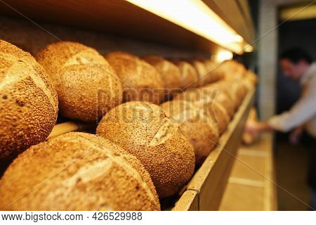 Sequential Walnut Bread On The Shelves, Pastry, Patisserie And Bakery