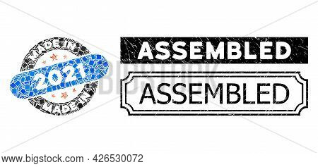 Mosaic Made In 2021 Stamp United From Rectangle Elements, And Black Grunge Assembled Rectangle Badge