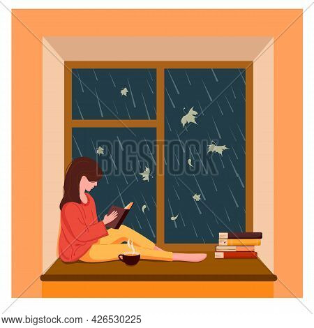 A Girl Sits By The Window, Reads A Book And Drinks Tea While It Is Raining Outside The Window. Vecto
