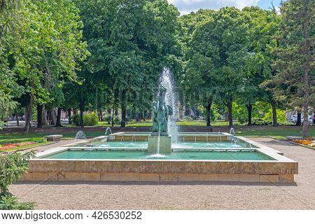 Szechenyi Square Park Fountain In Szeged Hungary