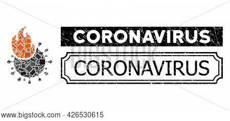 Mosaic Fired Coronavirus Organized From Rectangle Parts, And Black Grunge Coronavirus Rectangle Badg