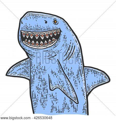 Children Dentistry, Shark With Dental Braces. Sketch Scratch Board Imitation Color.