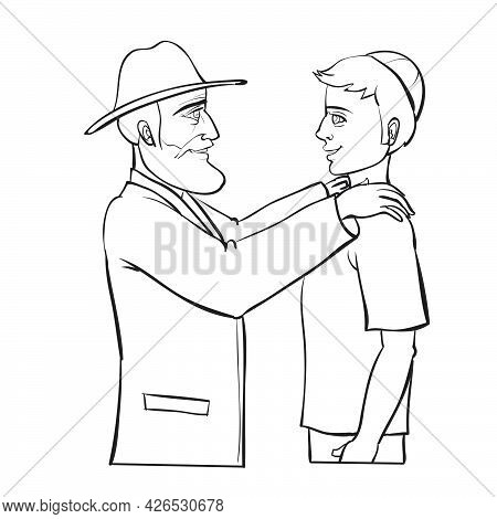 Sketch, Rabbi Or Mentor Blessing A Young Man, Coloring Book, Isolated Object On White Background, Ve